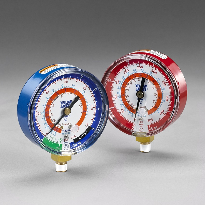 "Yellow Jacket® 3 1/8""  Red High-Pressure Gauge"