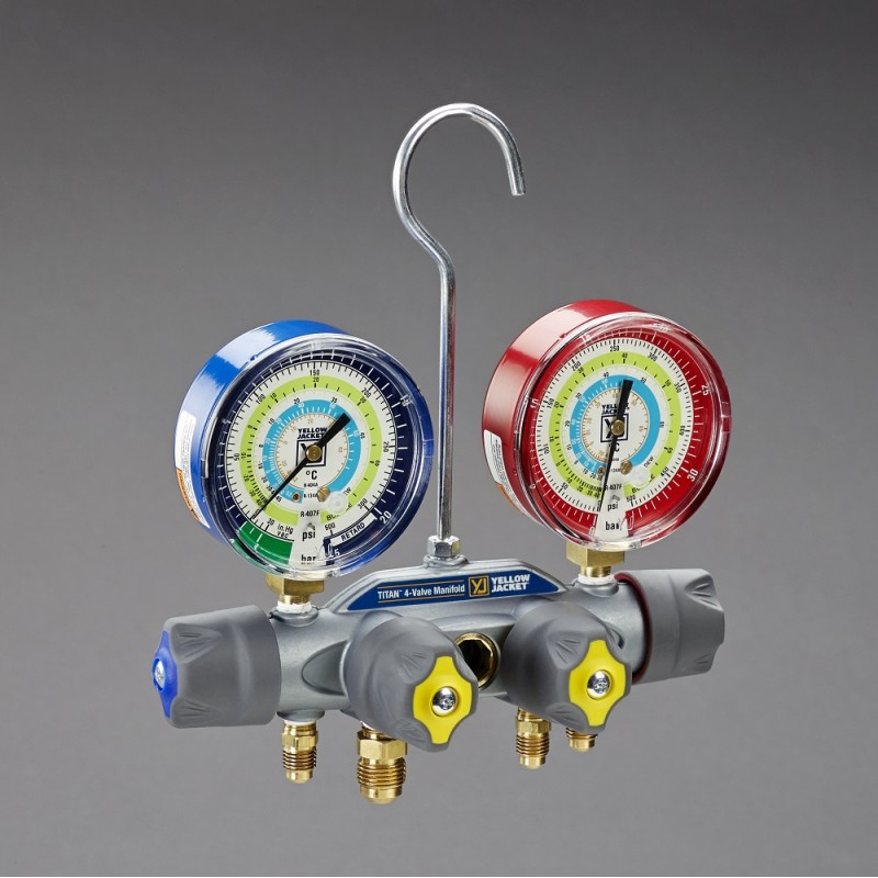 Yellow Jacket® Titan 4-Valve Test & Charging Manifold R134a, R404a, R407f