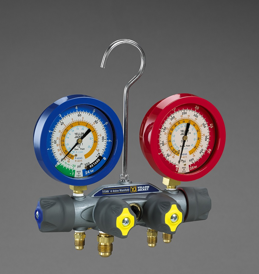 Yellow Jacket® Titan 4-Valve Manifold Liquid Filled R404a