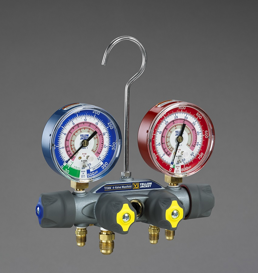 Yellow Jacket® Titan 4-Valve Test & Charging Manifold R410a, R32