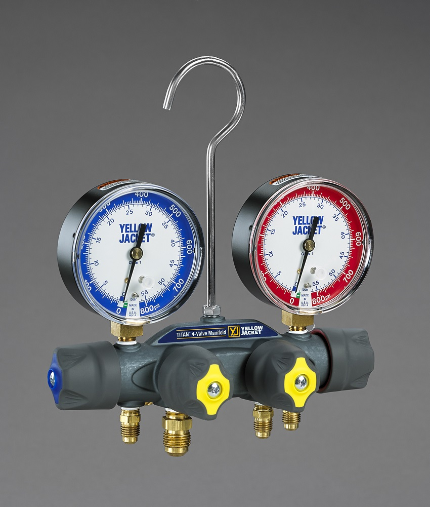 Yellow Jacket® TITAN™ 4-Valve Pressure Test Manifold - No sightglass